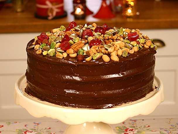 Maffig chokladtårta med peanutbutter frosting