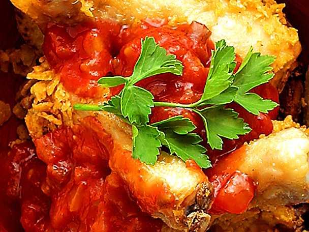 Majspanerade kycklingben med het tacosås