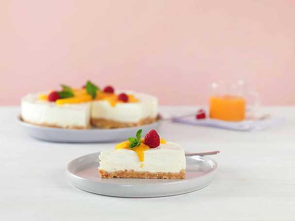 Mango- och halloncheesecake