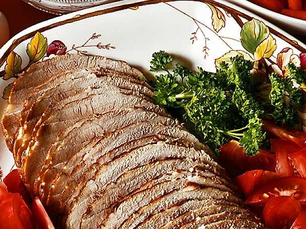 Marinerad skinka med legymer och ädelsås