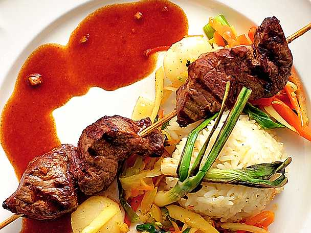 Marinerade biffspett med wok