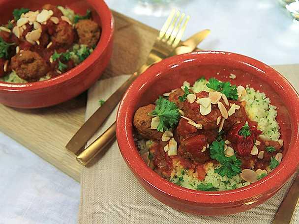 Marockanska lammfärsbullar med couscous
