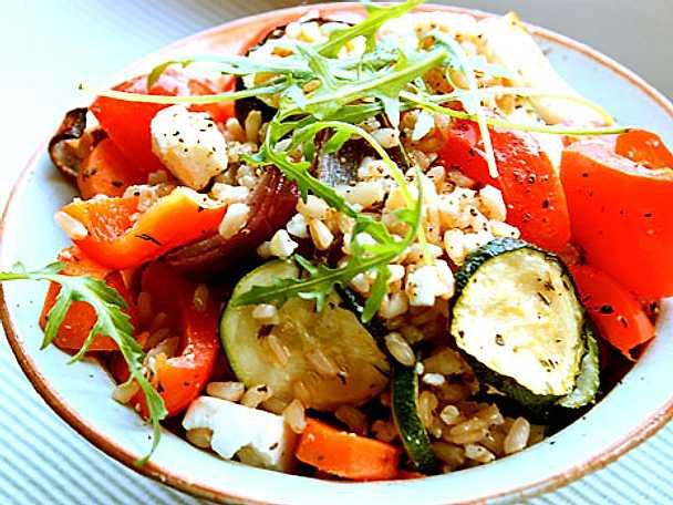 Matvetesallad med rostade grönsaker