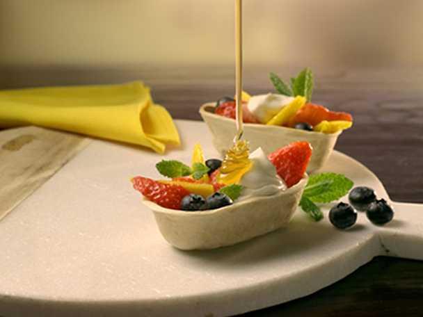 Minitacos med frukt och honung