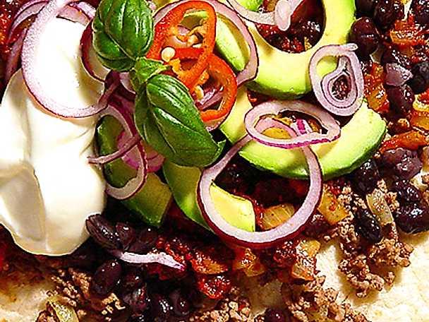 Mjuka tacos med köttfärs och bönor