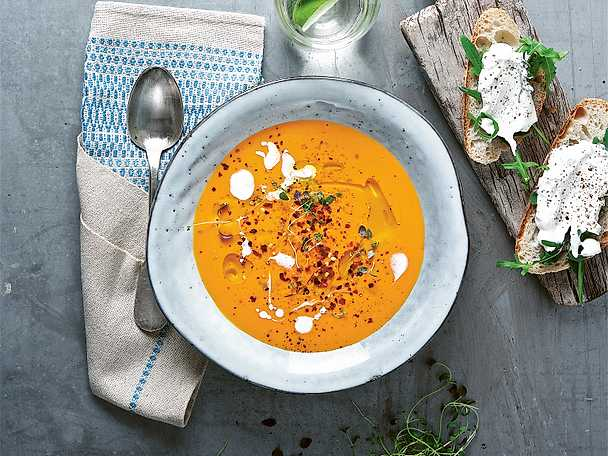 morots och linssoppa med ingefära och chili