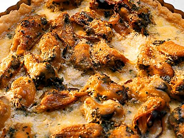 Musselpaj med vitlökssmak