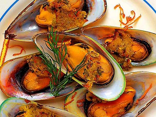 Musslor gratinerade med gremolata