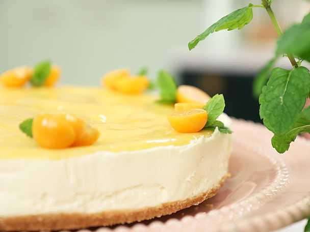 No bake cheesecake med vit choklad och citron