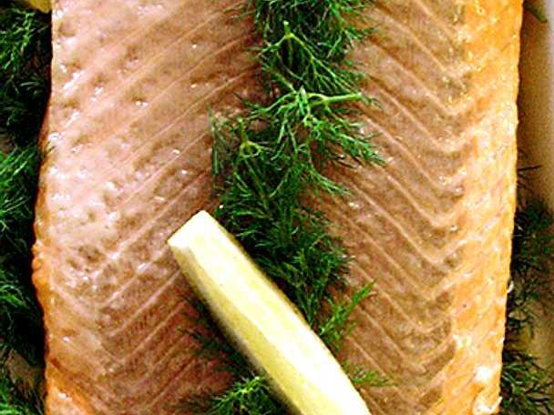 Olivoljemarinerad lax