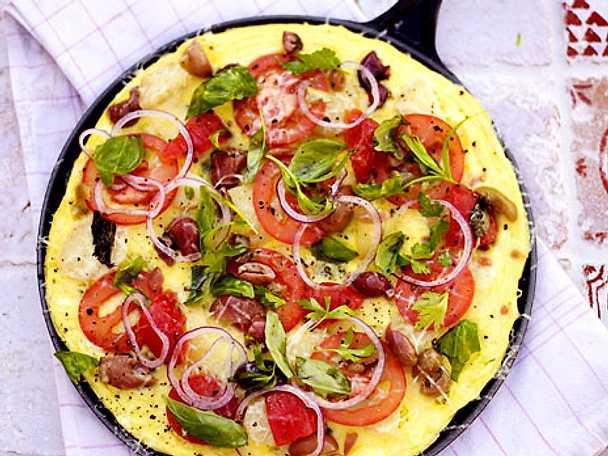 Öppen omelett med örter