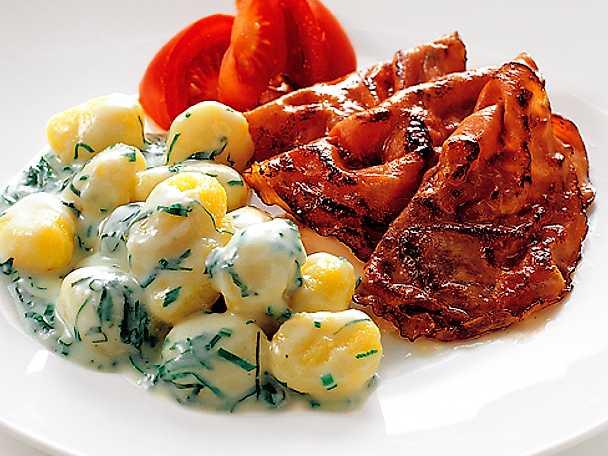 Örtgnocchi med skinka