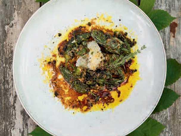 Padrones med spräckt kalvsky, tryffel och parmesan