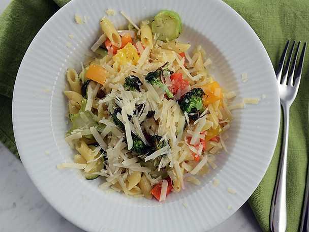 Paolos pasta med rostade grönsaker