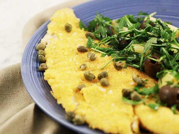 Parmesan- och polentapanerad sej