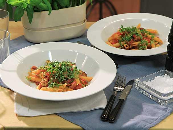 Pasta med chorizo och paprika