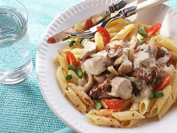 pasta med kyckling recept