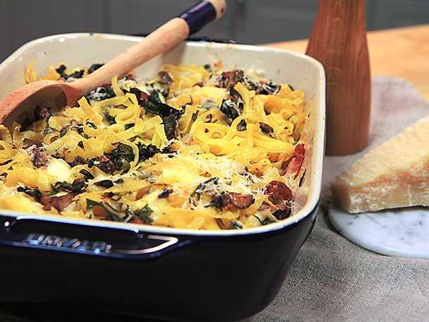Pastagratäng med pancetta och svamp