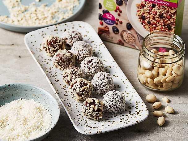 Paulun Rawbollar med jordnöt och choklad