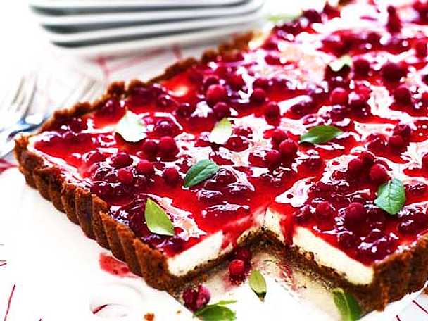 Pepparkakscheesecake med lingon