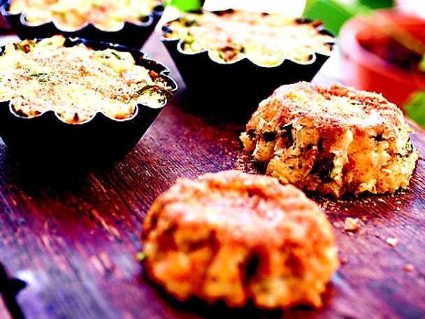 Portionsformar med mozzarella, örter och potatis