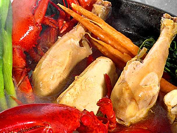 Pot au feu på kyckling och hummer
