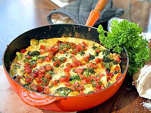 Potatis- och broccoliomelett