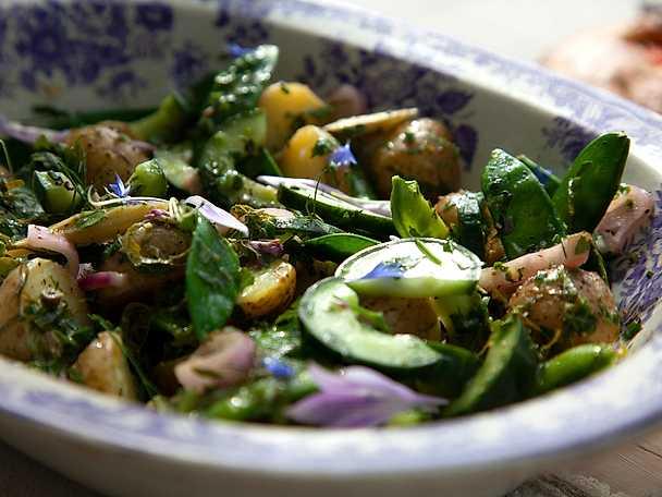 Potatissallad med picklad rabarber och pressgurka