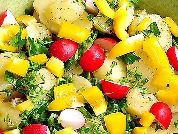 Potatissallad med rädisor och paprika