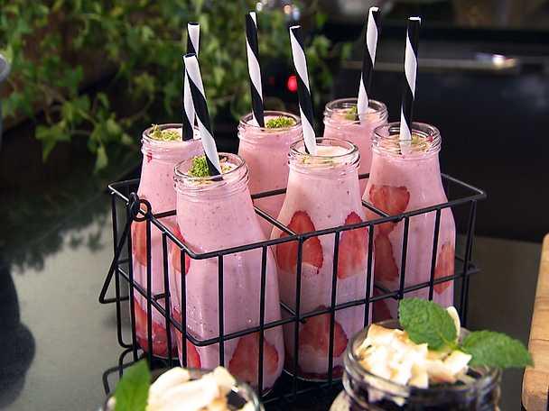 Proteinshake med jordgubbar