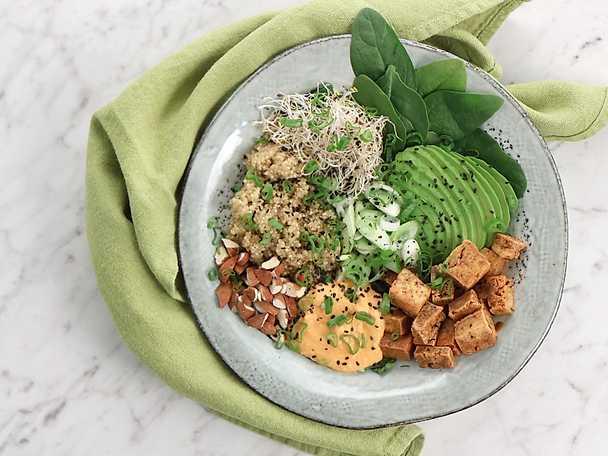 Quinoabowl med sojamarinerad tofu, avokado och paprikahummus