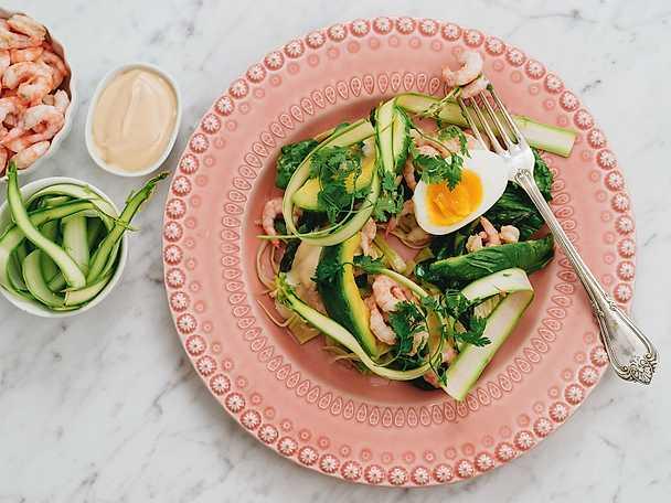 Räksallad med grön sparris och citroninlagd avokadoNY