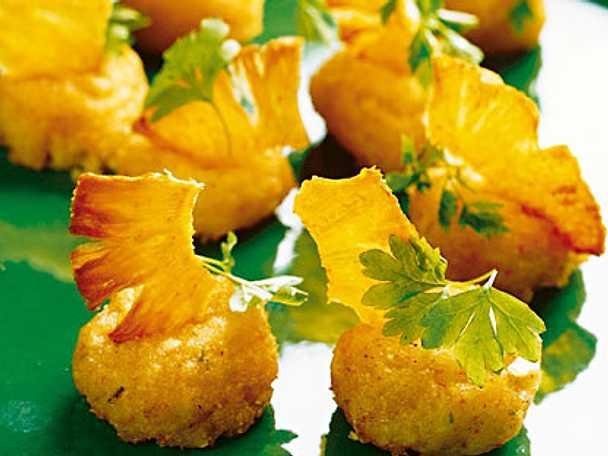 Räkslantar med ananaschips