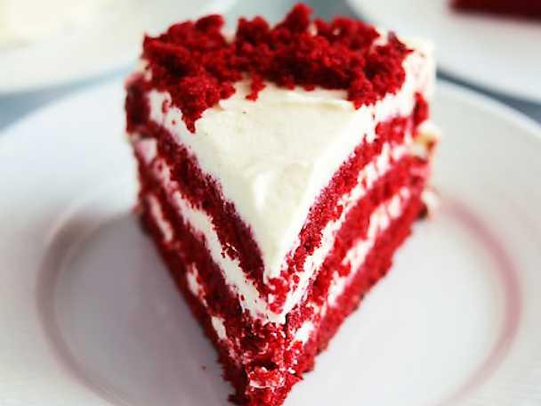Red velvet cake med frosting