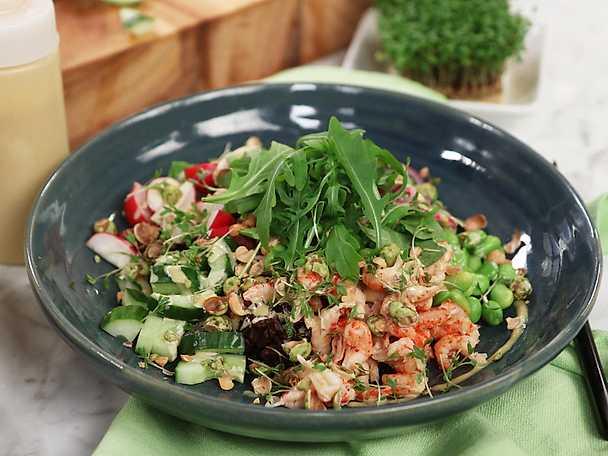 Ricebowl med wasabikräftor och avokado