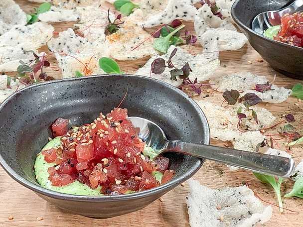 Rischips och tonfisktartar