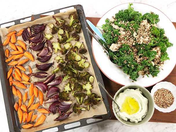 Rostad broccolisallad med vegansk dragonmajonnäs