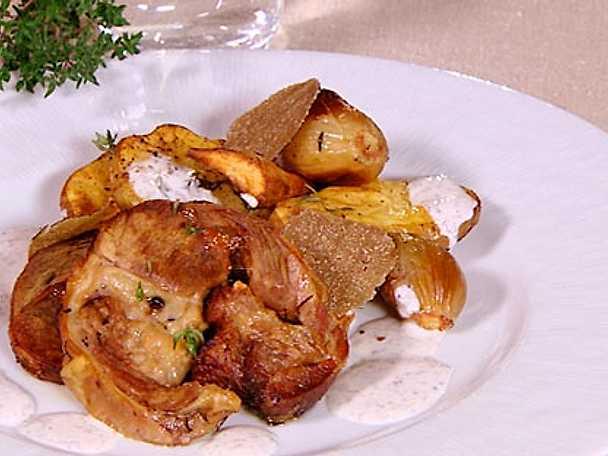 Rostad lammbog med potatis, rotfrukter och tryffeldressing
