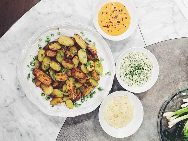 Rostad potatis med tre sorters aioli