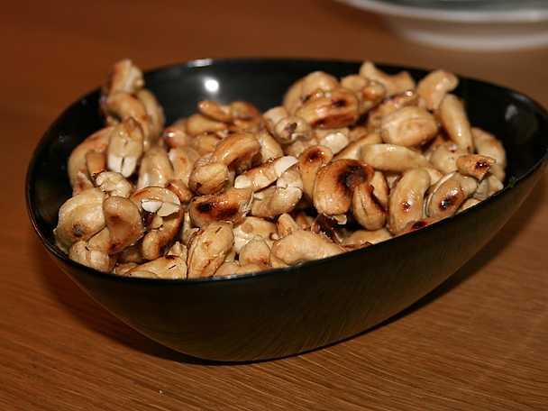Rostade cashewnötter i lönnsirap