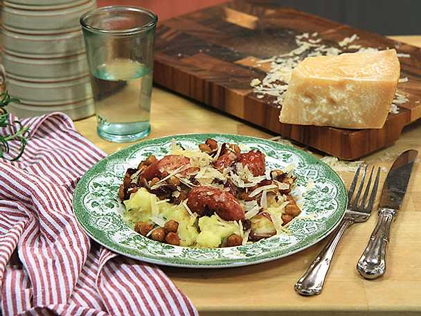 Salsiccia med rosmarin- och parmesanmos