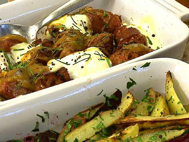 Småländska isterband med rostade betor, potatis och Västervikssenap