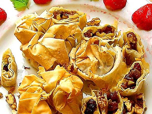 Smällkaramell med äpple, russin och nötter