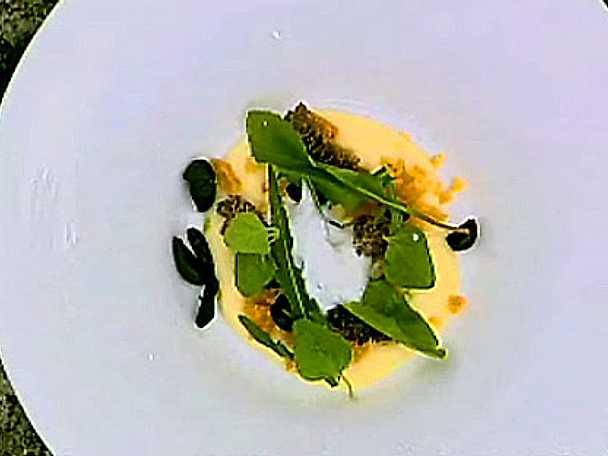 Smält herrgårdsost som serveras med toppmurklor, rostad surdeg, maskros och ramslök
