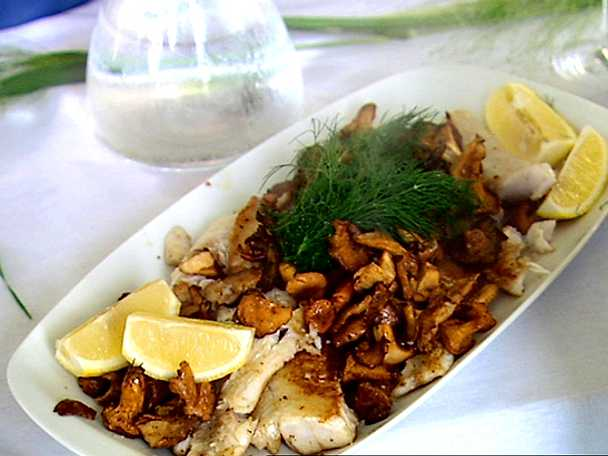 Smörstekt gös med vitvinsås och kantareller