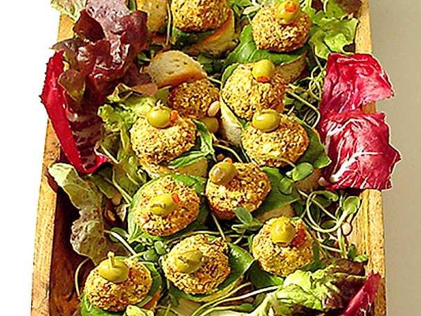 Snittar med olivboll