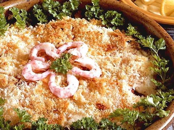 Söndagsfisk med svamp och räkor
