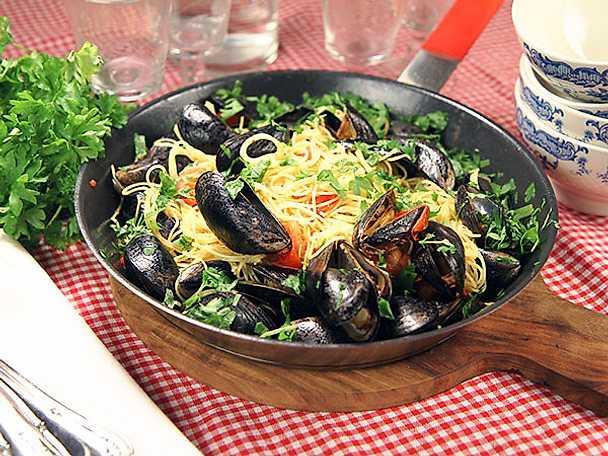 Spagetti med musslor