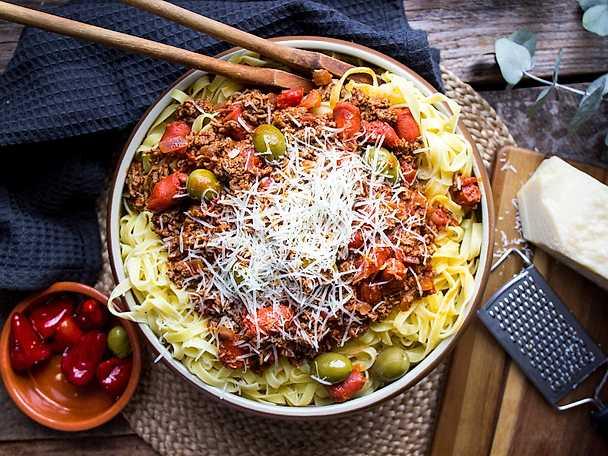 Spaghetti med chorizoköttfärsås