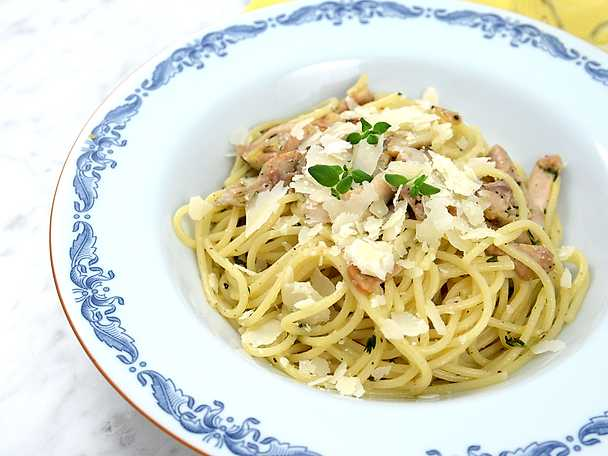 Spaghetti med citronkyckling och parmesan